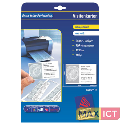 Avery visitekaartjes microperforatie for Avery t shirt transfer paper for laser printers