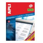 Apli 580873 Witte etiketten formaat 70 x 37 mm (b x h), 6.000 stuks, 24 per blad (2520) 8410782025207
