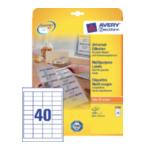 Zweckform 4780 Avery Universele Etiketten, wit, 48,5 x 25,4 mm, permanent klevend 4004182047804