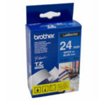 Brother TZ-555 Gloss Laminated Labelling Tape - 24mm, White/Blue TZ labelprinter-tape 4977766052825