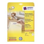 Avery L6025REV-25 Afneembare Etiketten, wit, 63,5 x 46,6 mm, afneembaar 4004182060254