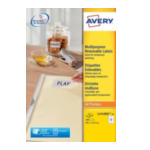 Avery L4743REV-25 Afneembare Etiketten, wit, 99,1 x 42,3 mm, afneembaar 4004182047439