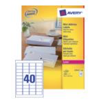 Avery L7654-100 Mini Etiketten, wit, 45,7 x 25,4 mm, permanent klevend 3266550066522