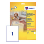 Avery L4735REV-25 Afneembare Etiketten, wit, 210,0 x 297,0 mm, afneembaar 4004182047354