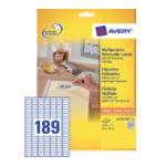 Avery L4731REV-25 Afneembare Etiketten, wit, 25,4 x 10,0 mm, afneembaar 4004182047316