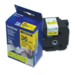 Brother TZ-661 Gloss Laminated Labelling Tape - 36mm, Black/Yellow labelprinter-tape TZ 4977766054225