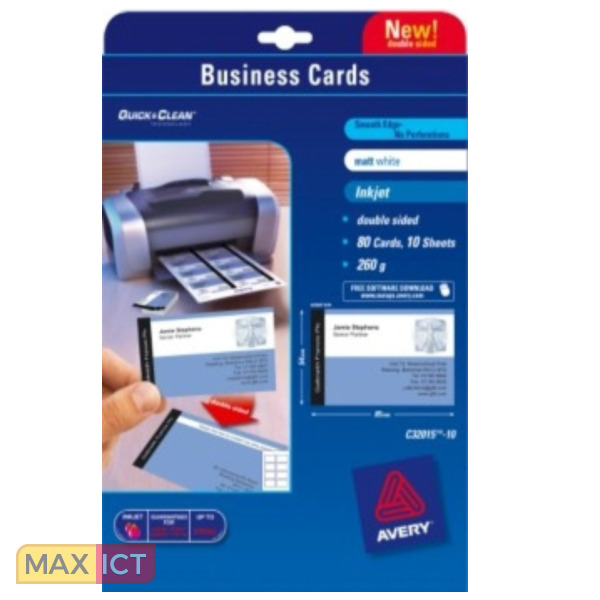 Avery Zweckform C32015 10 Visitekaartje Inkjet Kopen Max Ict B V