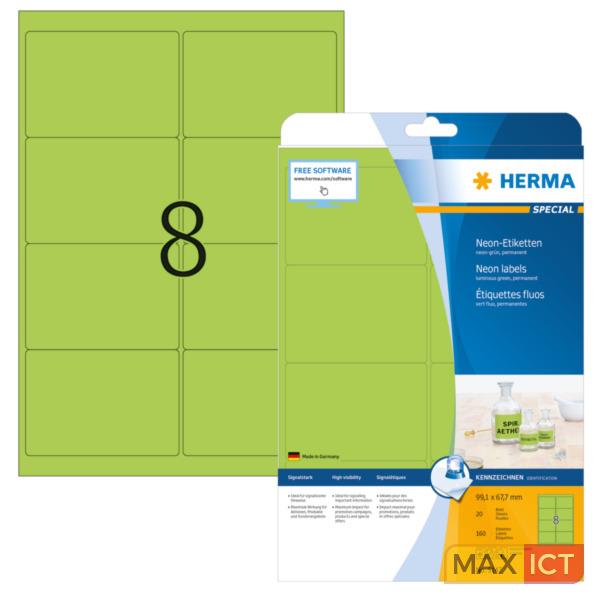 Herma Etiketten neon-groen 99.1x67.7 A4 160 st.