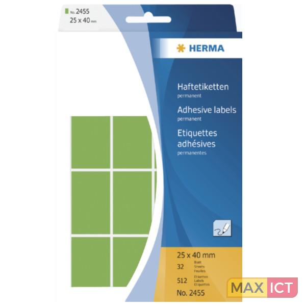 Herma Universele etiketten 25x40mm groen voor handmatige opschriften 512 St