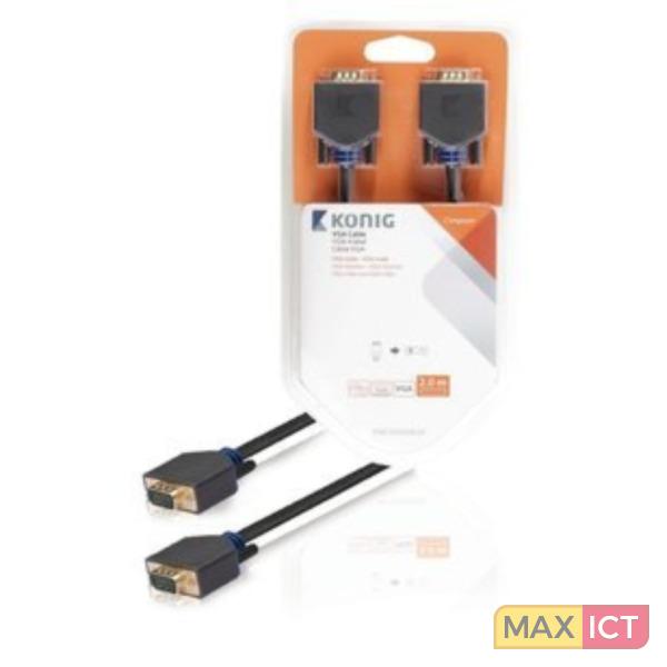 König VGA male/VGA male, 2 m 2m VGA (D-Sub) VGA (D-Sub) Antraciet VGA kabel